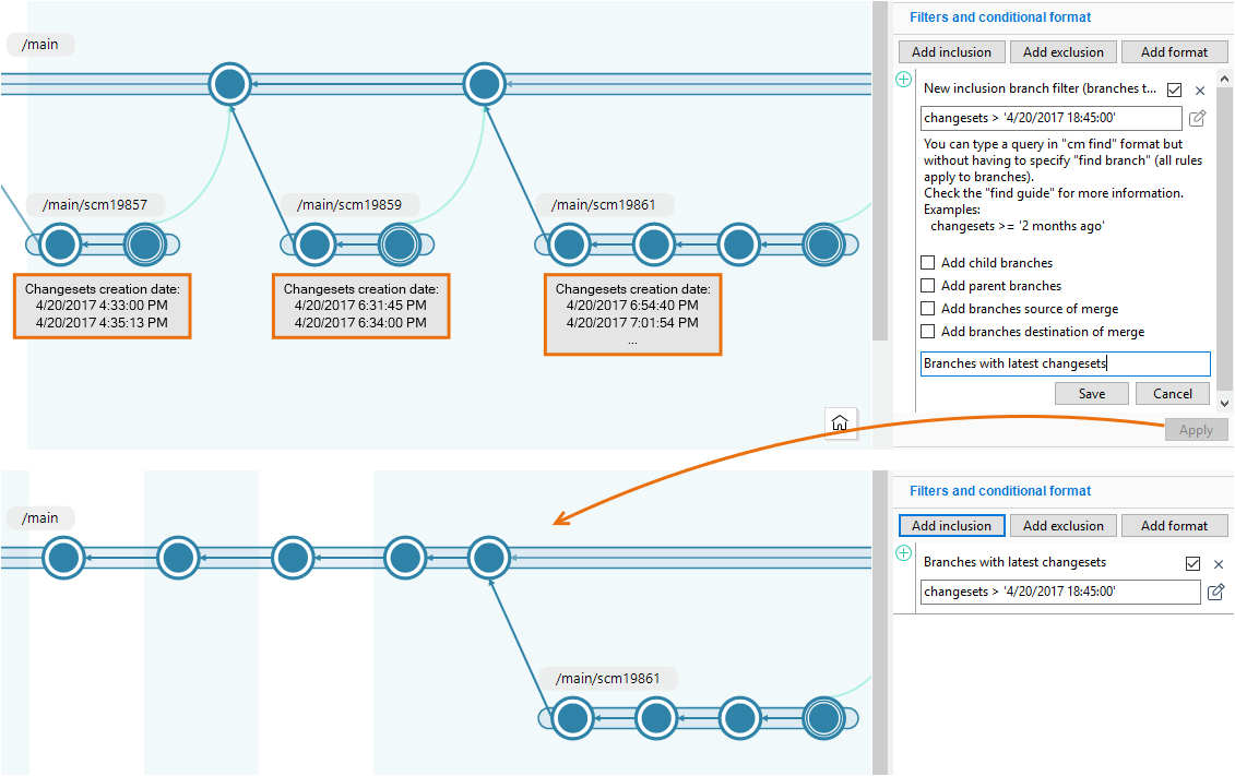 Plastic Scm Version Control Gui Guide Let39s Have A Look At Basic Wiring Diagram Describing Threeway Branch Explorer Inclusion Example Display Only The Branches Containing Changesets Created After Certain