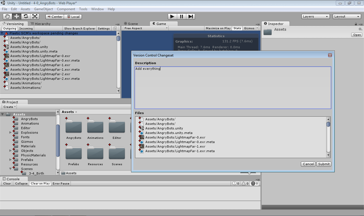 Screenshot of Plastic SCM Unity plugin, screen 3