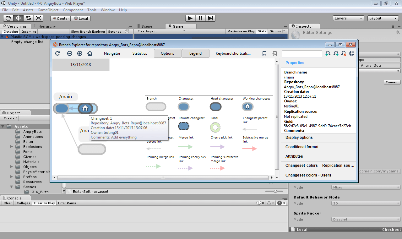 Screenshot of Plastic SCM Unity plugin, screen 4